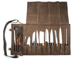 Chef Knife Roll Bag  | Stores 10 Knives, 3 Kitchen Utensils