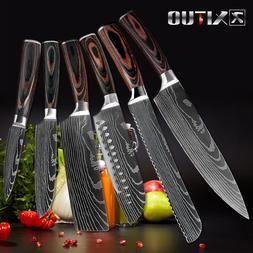 Chef Knife Set Slicing Vegetable Bread Santoku Paring Knives