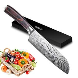 PAUDIN Classic 7 inch Hollow Ground Santoku Knife, German Hi