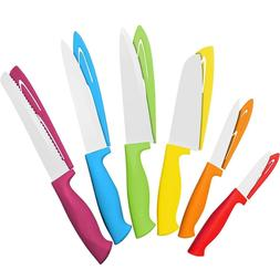 12 Piece Steel Color Knife Set - 6 Steel Kitchen Knives with