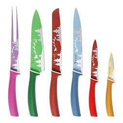 Hecef 12 Pcs Colorful Knife Set, Stainless Steel Non Stick F
