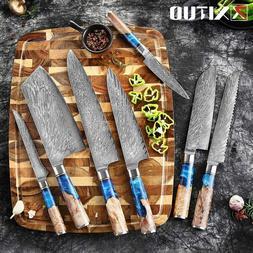 Cool Kitchen Knives Set Damascus Steel VG10 Chef Knife Blue