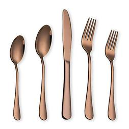 HOMQUEN Rose Gold Flatware Set 20 Piece Service for 4, Coppe