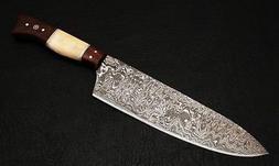 Custom Damascus steel BLADE KITCHEN KNIFE/CHEF KNIFE BONE&RO