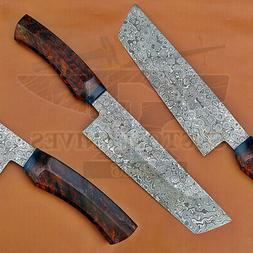 Custom Hand Made Damascus Steel  Kitchen BBQ Chef  knife - R
