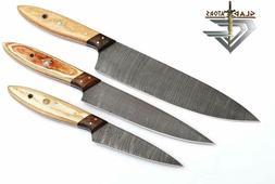 Custom Made Damascus Steel 3 pcs of Professional Utility Che