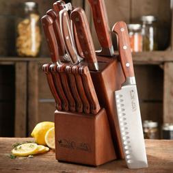 14 PC Set Kitchen Knives Butcher Block Cutlery Bread Chef St