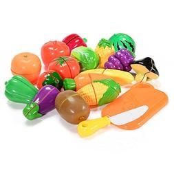 Acekid Pretend Food Toys,Kids 18pcs Cutting Fruits and Veget