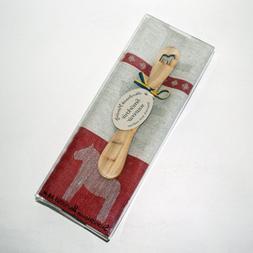 Dala Horse Towel & Butterknife Gift Set - Red