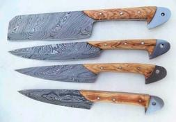 Damascus Handmade Custom Chef Kitchen Knives Set of 4 Knives