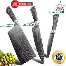 Damascus Steel Kitchen Chef Knife 5-8 inch Santoku Camping O