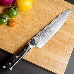 "8"" Damascus Super Steel Full Tang Chefs Knife, Professional"