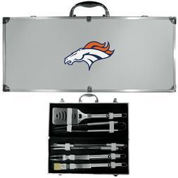Denver Broncos 8 Piece Deluxe Stainless Steel BBQ Set w/ Cas