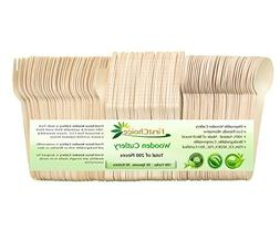 Disposable Wooden Cutlery Sets - 200 Piece Total: 100 Forks,