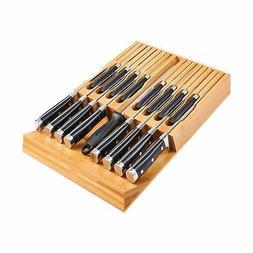 Utoplike In-Drawer Bamboo knife block Drawer Knife Organizer