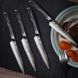 "Elite 5"" Steak Knives Set 4pcs Japanese VG10 Damascus Steel"