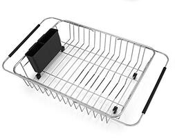 SANNO Expandable Dish Drying Rack,Over The Sink Adjustable A