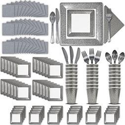 Fancy Disposable Silver Dinnerware Set - 24 Guest - 2 Size S