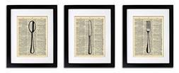 Fork Knife Spoon - Kitchen Art 3 Prints - Vintage Dictionary