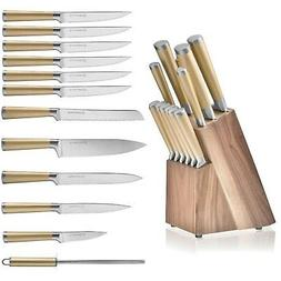 Gold Knife Set with Walnut Knife Block, 12-piece Kitchen Kni