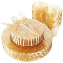 WDF 150pcs Gold Plastic Plates with Disposable Plastic Silve