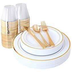 IOOOOO Gold Plates & Plastic Silverware & Gold Cups, Disposa