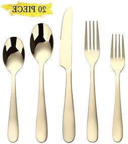 Gold Silverware Set, Flatware Set 20-Piece Stainless Steel C