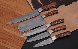 HAND FORGED DAMASCUS STEEL CHEF KNIFE KITCHEN Knives Set W/W