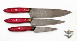 GladiatorsGuild Hand Forged Pink 3 pcs Chef Kitchen Knife Se