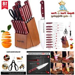 Home Kitchen Stainless Steel Sharp Knife Set Wooden Block Ma