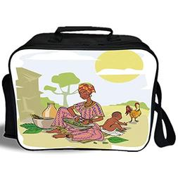 Insulated Lunch Bag,African Woman,Mother with Her Baby Cooki