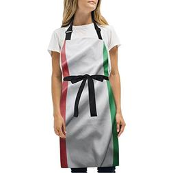 super3Dprinted Italy Flag Adjustable Chef Bib Apron with 2 P