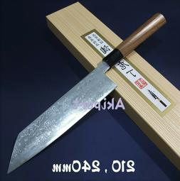 Japanese Kiritsuke Kitchen Knife KAJIWARA Blue Aogami Damasc