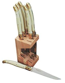 Jean Dubost JD12265-1311 6 Steak Knives In Wooden Block, Ivo