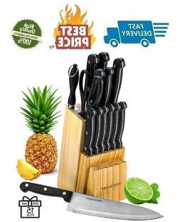 Kitchen Chef Knife Set 15 Pcs in A Wood Butcher Block Holder