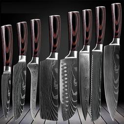 Kitchen Knives Set High Carbon Steel Damascus Style Professi
