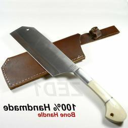 ZED1 KITCHEN CLEAVER KNIFE HAND MADE BONE HANDLE + GENUINE L