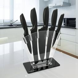 Kitchen Knife Block Set 5 Piece Stainless Knives with Sharpe