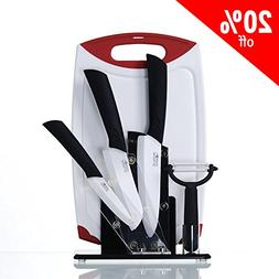 6 Piece Ceramic Cutlery Chef Kitchen Knives Set With Acrylic