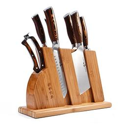 TUO Cutlery Knife Set with Wooden Block, Honing Steel and Sh