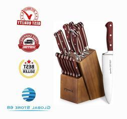 Kitchen Knife Set 15 Piece & Block Wooden with Sharpener &Ge