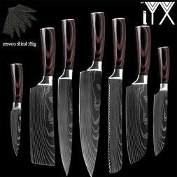 Kitchen Knife Set 7pcs Chef Japanese Damascus Steel Knives S