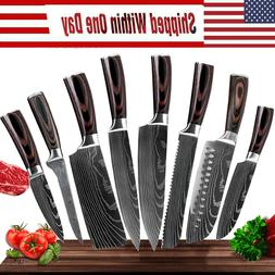 8 Pcs Professional Knives Set Stainless Damascus Style Chef'