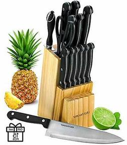 Kitchen Knife Set 15 Piece Block Stainless Steel Chef Cutler
