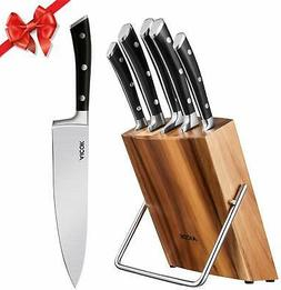 Kitchen Knife Set, Professional 6-Piece Knife Set with Woode