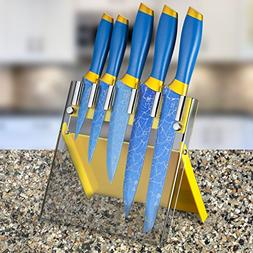 Chef's Star 6 Piece Kitchen Knife Set, Blue Titanium and Dam