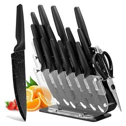 Kitchen Knife Set With Holder Acrylic Block Storage Stainles