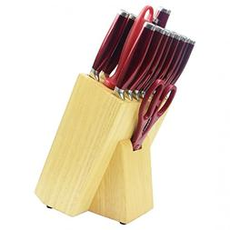 Kitchen Knife Sets, 16pcs Red Professional Stainless Steel C