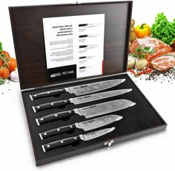Kitchen Knives Set Stainless Japanese Damascus Pattern Steel