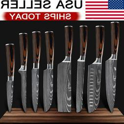 8 Piece Kitchen Knives Set Japanese Damascus Style Stainless